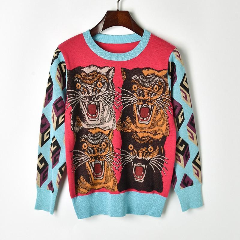 Модный свитер Гуччи с тигром, жаккардовый вязаный свитер