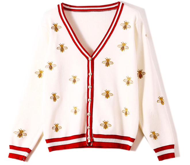 Кардиган Гуччи (Gucci)с вышивкой пчелы на Алиэкспресс