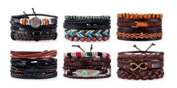 кожаные мужские браслеты на Алиэкспресс