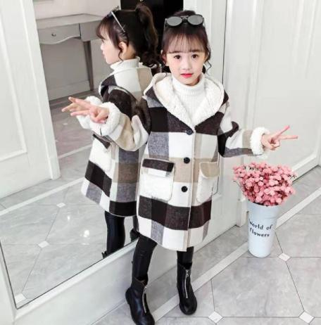 Пальто с капюшоном для девочек осень-зима купить на Алиэкспресс