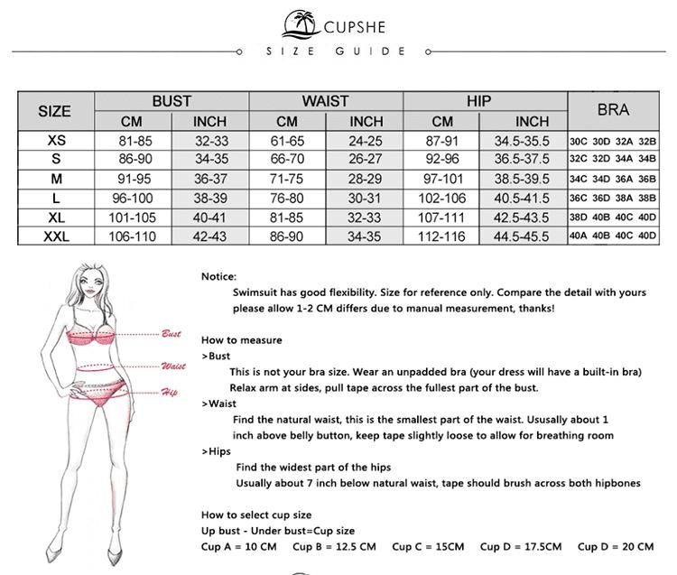 Таблица размеров купальников для примера