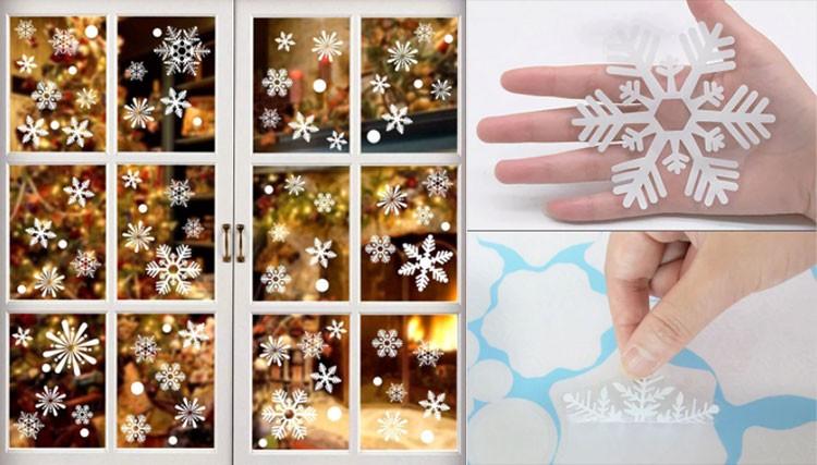 Новогодняя распродажа на AliExpress - Белые снежинки наклейки на окна