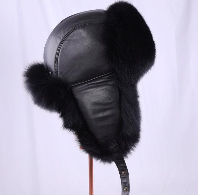 Зимняя мужская шапка-ушанка из натурального меха