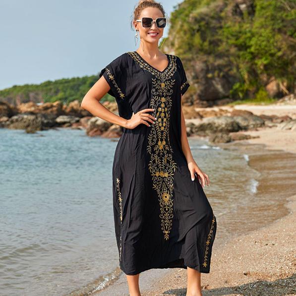 Хлопковое платье - туника для пляжа на Алиэкспресс