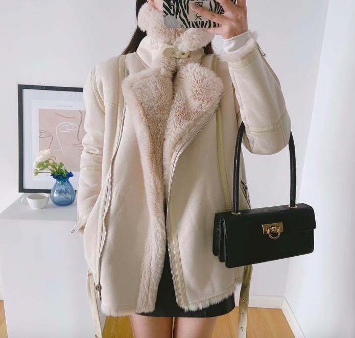 Зимнее пальто дубленка с мехом ягненка