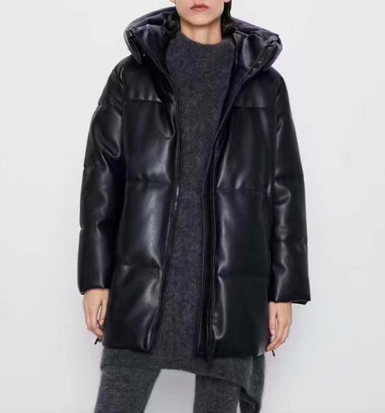 Зимняя женская черная куртка -пальтона Алиэкспресс