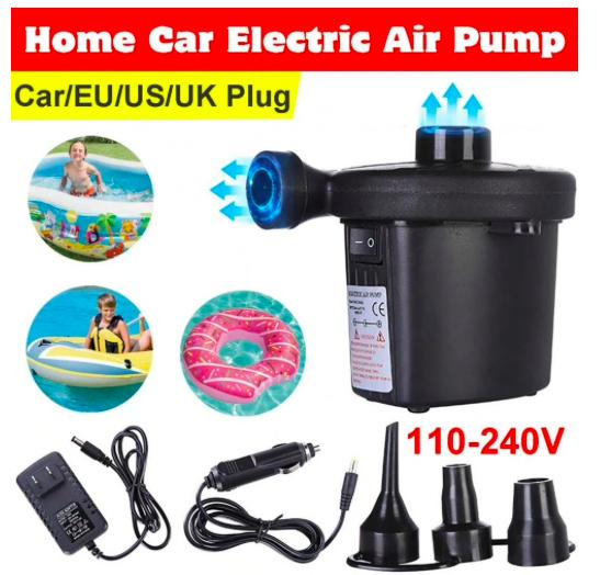 Электрический воздушный насос мини воздушный компрессор 12 В для матраса, бассейна, лодки с 3 насадками