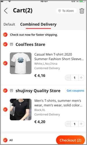 Покупка товаров в мобильном приложении Алиэкспресс и выбор комбинированной доставки